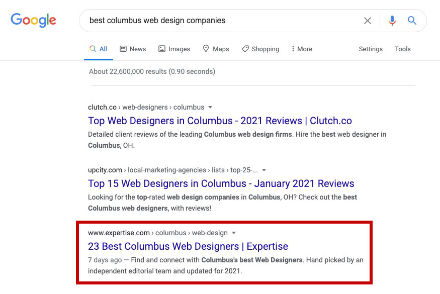 screen shot of google results for columbus best web design companies