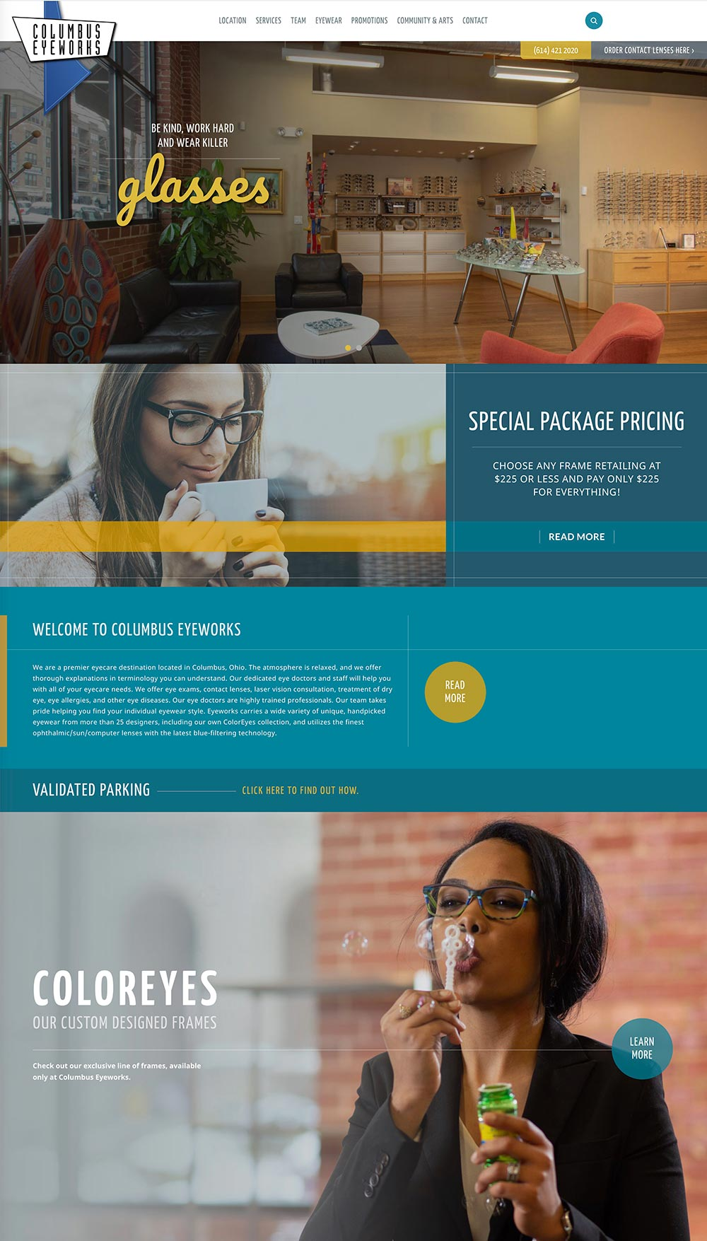 Columbus Eyeworks homepage by Columbus website design firm Sevell