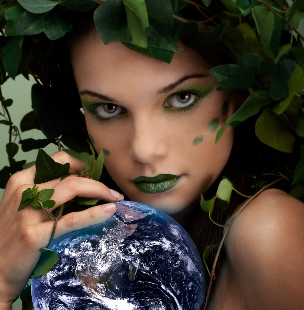 image of woman dressed as an earth mother/mother nature