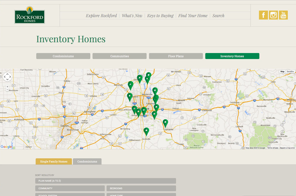 locations map page of Rockford homes by Columbus web designers S+S