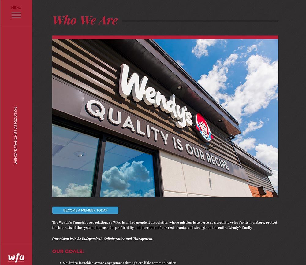 Wendy's Franchisee Association's website by Columbus web design firm Sevell, Inc