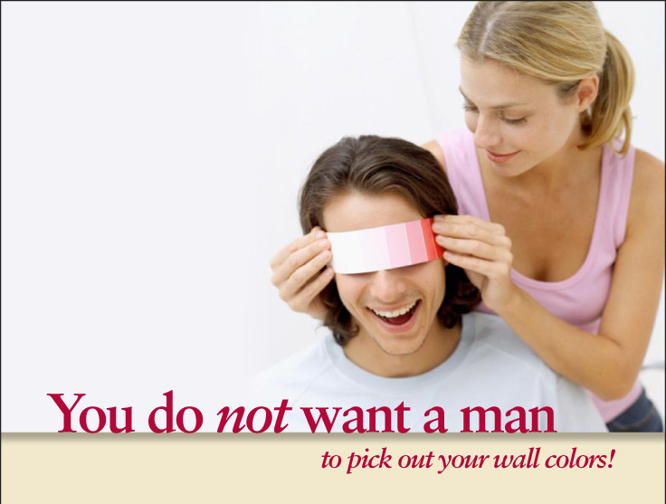woman holding paint chip over a man's eyes by Columbus Ohio marketing company