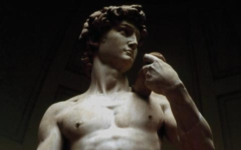 close up of Michelangelo's statue of David